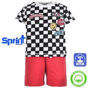 Σετ μπλούζα με κοντό παντελόνι αγόρι με τύπωμα racing Sprint