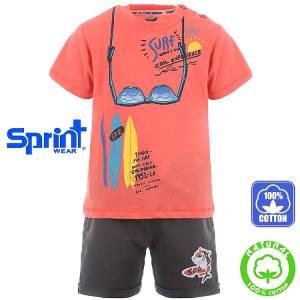 Σετ μπλούζα με κοντό παντελόνι αγόρι με τύπωμα Sunglasses Sprint