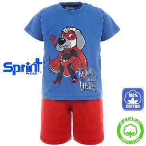 Σετ μπλούζα με κοντό παντελόνι αγόρι με τύπωμα σκύλος Sprint