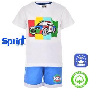Σετ μπλούζα με κοντό παντελόνι αγόρι με τύπωμα περιπολικό Sprint