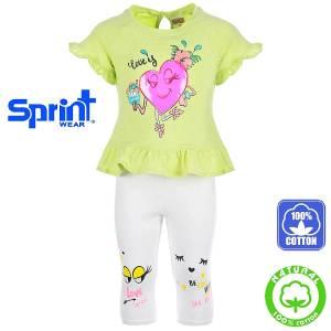 Σετ μπλούζα και κολάν κορίτσι με τύπωμα καρδιά Sprint
