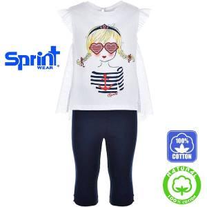 Σετ μπλούζα και κολάν κορίτσι με τύπωμα ναυτικό Sprint