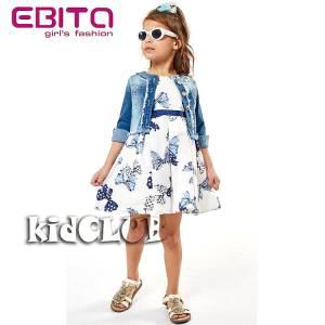 Σετ φορεματάκι και ζακετάκι τζιν για κορίτσι σταμπωτό EBITA