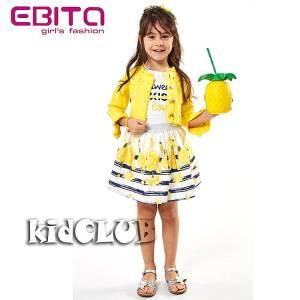 Σετ μπλουζάκι με φούστα και ζακετάκι τζιν για κορίτσι σταμπωτό EBITA