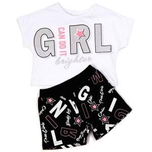 Σετ μπλούζα και σορτς για κορίτσι σταμπωτό Trax