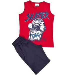 Σετ μπλούζα με βερμούδα παντελόνι αγόρι με στάμπα tag Trax