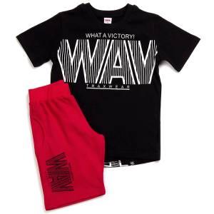 Σετ μπλούζα με βερμούδα παντελόνι αγόρι με στάμπα victory Trax