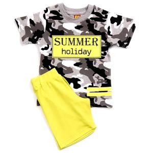 Σετ μπλούζα με βερμούδα παντελόνι αγόρι με στάμπα holiday Trax