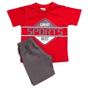 Σετ μπλούζα με βερμούδα παντελόνι αγόρι με στάμπα best Trax