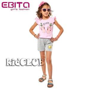Σετ μπλούζα και σορτς κορίτσι σταμπωτό σαγιονάρες EBITA