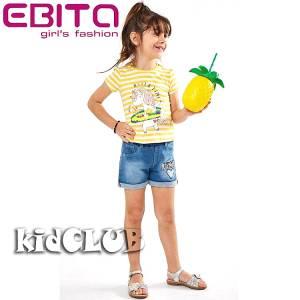 Σετ μπλούζα και σορτς κορίτσι σταμπωτό με πούλιες EBITA
