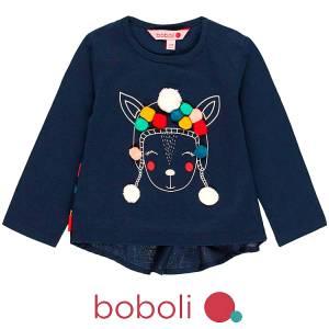 Μπλούζα μακρυμάνικη κοριτσίστικη με τύπωμα και απλικέ Boboli