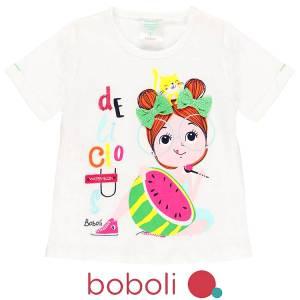 Μπλούζα κοντομάνικη κορίτσι σταμπωτή καρπούζι της Boboli