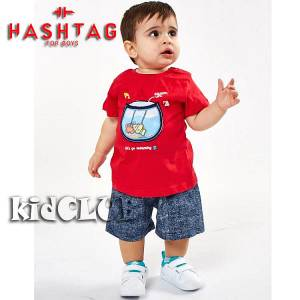 Σετ μπλούζα με βερμούδα παντελόνι αγόρι με στάμπα Aquatic Hashtag