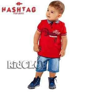 Σετ μπλούζα με βερμούδα από ύφασμα τζιν αγόρι με στάμπα Wind Hashtag