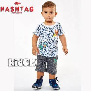 Σετ μπλούζα με βερμούδα παντελόνι αγόρι με στάμπα Fun Hashtag