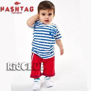 Σετ μπλούζα με βερμούδα παντελόνι αγόρι με στάμπα Hashtag