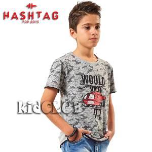 Μπλούζα με κοντό μανίκι για αγόρι σταμπωτό Army Hashtag