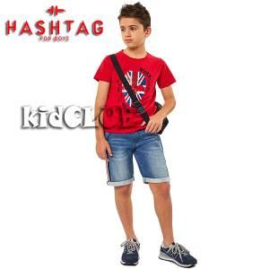 Σετ μπλούζα με βερμούδα από ύφασμα τζιν αγόρι με στάμπα British Hashtag