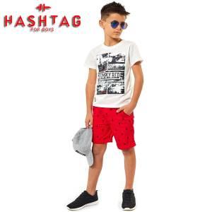 Σετ μπλούζα με βερμούδα παντελόνι αγόρι με στάμπα Red Hashtag