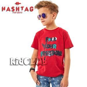 Μπλούζα με κοντό μανίκι για αγόρι σταμπωτό με πούλιες Hashtag
