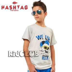 Μπλούζα με κοντό μανίκι για αγόρι σταμπωτό Like Hashtag