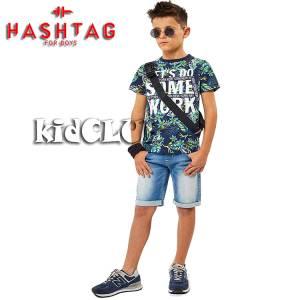 Σετ μπλούζα με βερμούδα από ύφασμα τζιν αγόρι με στάμπα Some Hashtag