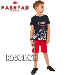 Σετ μπλούζα με βερμούδα παντελόνι αγόρι με στάμπα Risk Hashtag