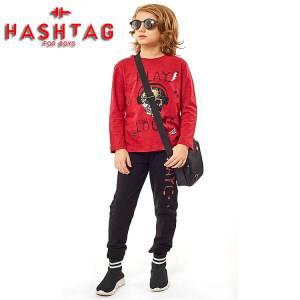Σετ μπλούζα μακό και φούτερ παντελόνι αγορίστικο Hashtag