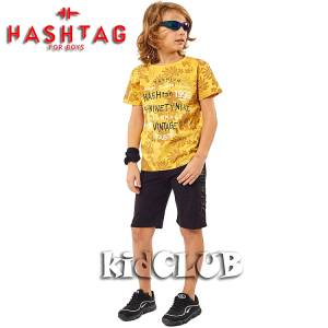Σετ μπλούζα με βερμούδα παντελόνι αγόρι με στάμπα Vintage Hashtag