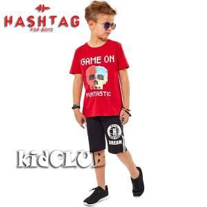 Σετ μπλούζα με βερμούδα παντελόνι αγόρι με στάμπα και πούλιες διπλής όψεως Hashtag