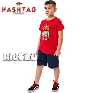 Σετ μπλούζα με βερμούδα παντελόνι αγόρι με στάμπα Smile Hashtag