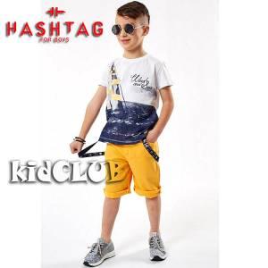 Σετ μπλούζα με βερμούδα από ύφασμα καμπαρντίνα αγόρι με στάμπα Wind Hashtag
