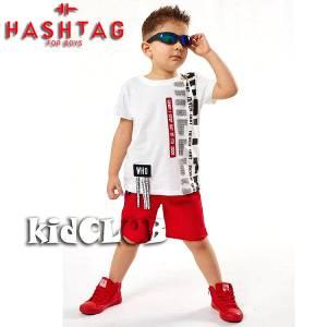 Σετ μπλούζα με βερμούδα παντελόνι αγόρι με στάμπα Who Hashtag