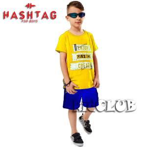 Σετ μπλούζα με βερμούδα παντελόνι αγόρι με στάμπα Silence Hashtag