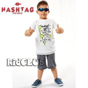 Σετ μπλούζα με βερμούδα παντελόνι αγόρι με στάμπα Party Hashtag