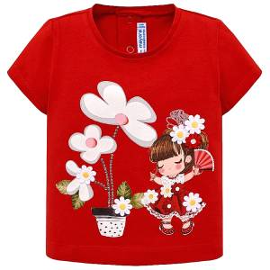 Μπλούζα κοντομάνικη baby κορίτσι σχέδιο λουλούδια MAYORAL
