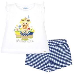 Σετ μπλούζα και σορτς κορίτσι μεταξοτυπία puppy MAYORAL
