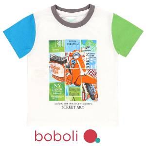 Μπλούζα κοντομάνικη αγόρι σταμπωτή σκούτερ της Boboli