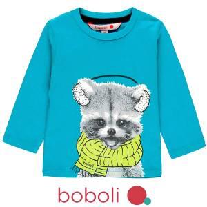 Μπλούζα μακρυμάνικη βρεφική αγορίστικη Animal Boboli