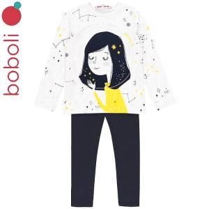 Σετ μπλούζα και κολάν κορίτσι με τύπωμα Mind Boboli