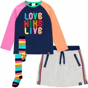 Σετ 3 τεμάχια φούστα μπλούζα καλσόν με τύπωμα Live Boboli