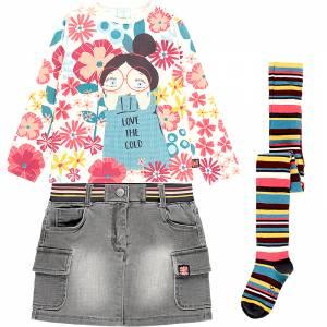 Σετ 3 τεμάχια φούστα μπλούζα καλσόν με τύπωμα Cold Boboli