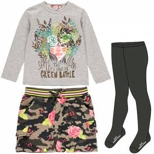 Σετ 3 τεμάχια φούστα μπλούζα καλσόν με τύπωμα Green Boboli
