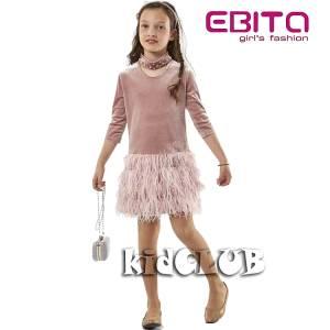 Φόρεμα συνδυασμένο από βελούδο για κορίτσι EBITA