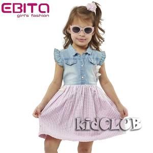 Φόρεμα αμάνικο τζιν κορίτσι EBITA