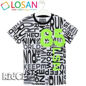 Μπλούζα κοντομάνικη αγόρι τύπωμα world Losan