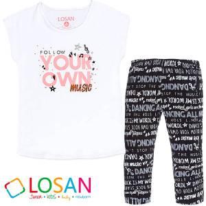 Σετ μπλούζα και κολάν κορίτσι με τύπωμα Follow LOSAN b3ede5ff477
