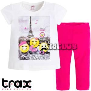 Σετ μπλούζα και κολάν κορίτσι με τύπωμα Smile TRAX
