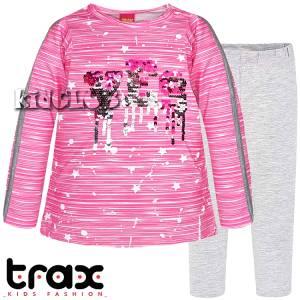 Σετ μακρυμάνικη μπλούζα και κολάν κορίτσι με πούλιες Trax